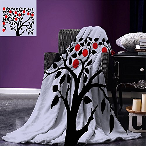 smallbeefly Apple Digital Printing Blanket Black Tree with Ripe Red Nutritious Fruit Flourishing Nature Garden Forest Art Summer Quilt Comforter Lilac Black ()
