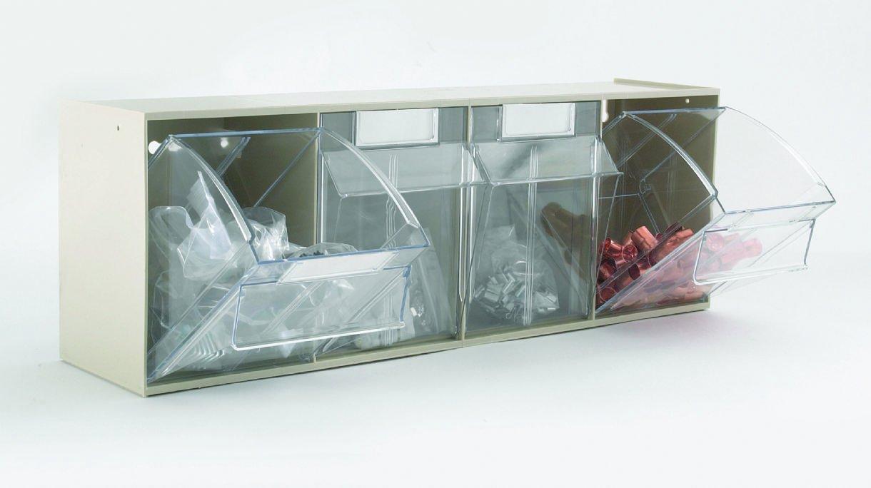 Quantum Storage 4 Compartment Clear Tilt Out Bin , Color: Ivory, Size: L = 168Mm X W = 600Mm X H = 206Mm