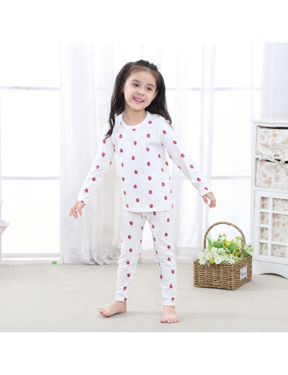 Menschwear Girl's Elastic Thermal Underwear Set Long Top and Bottom (120CM,White) by Menschwear (Image #3)