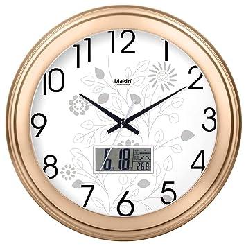 ZHYWJ Cocina Silencio Sin tictac Característica Cuarzo Batería Sala de Dibujo con Estilo Digital Reloj Redondo