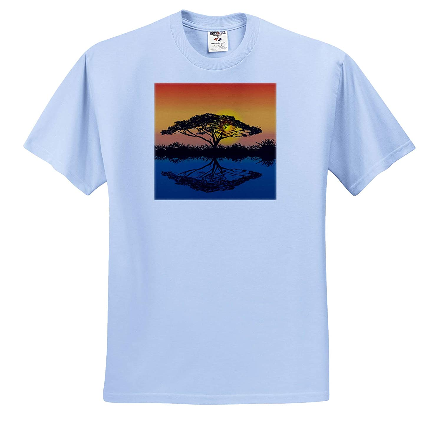 3dRose Sven Herkenrath Nature T-Shirts Beautiful Image of a Tree at The River Trendy Work
