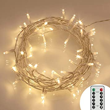 8 Modes 40 Led Fairy Lights Battery Operated Remote Timer Outdoor Led String Lights Ip65 Warm White Energy Class A