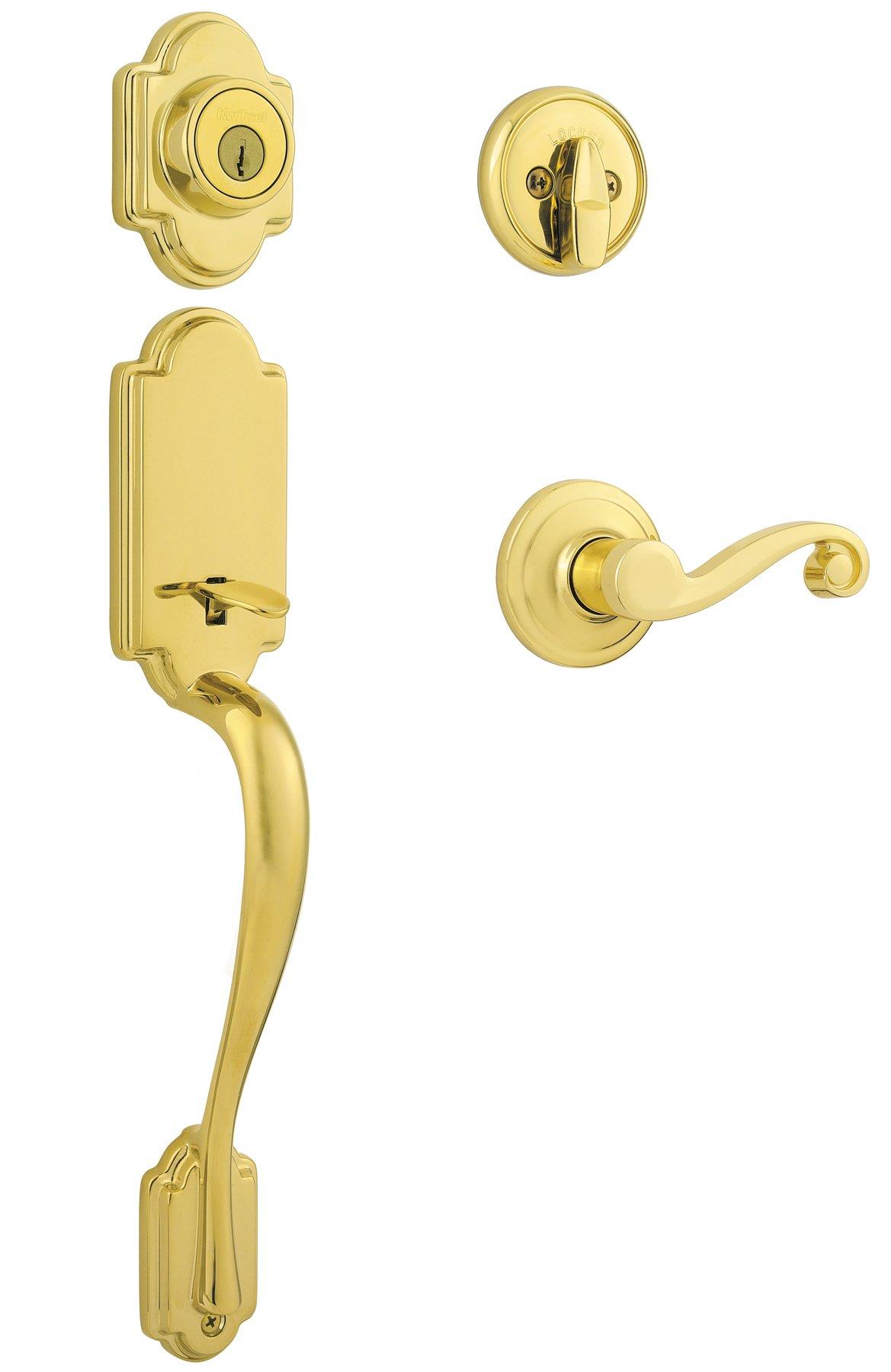 Kwikset Arlington Single Cylinder Handleset w/Lido Lever featuring SmartKey in Lifetime Polished Brass