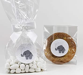 Elephant Gender Neutral Baby Shower Treat Party Favor Bags With Gray Stickers And Twist Tie