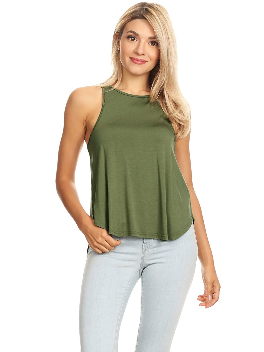 7740c36f84 Anna-Kaci Womens Loose Fit Solid Color High Round Neck Racerback Tank Top  at Amazon Women's Clothing store: