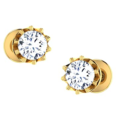 063722b9593c9 Dishis Designer Jewellery 18KT Yellow Gold and Diamond Stud Earrings for  Women
