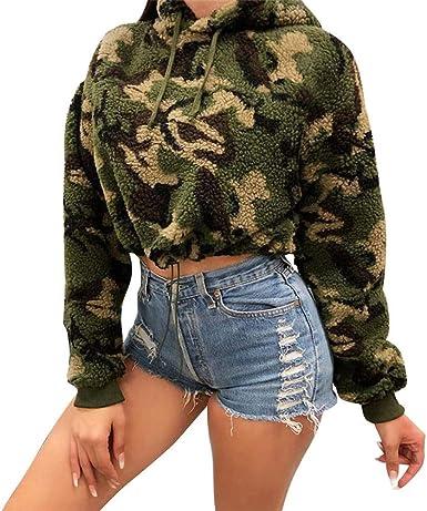 Luckycat Sudadera Casual de Camuflaje de Felpa para Mujer Sudadera con Capucha Dama Tops Cortos Blusa: Amazon.es: Ropa y accesorios
