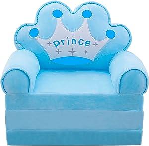 Plush Foldable Kids Sofa Backrest Chair Cute Cartoon Lazy Sofa Infant Toddler Kids's Flip Open Sofa Bed for Living Room Bedroom (Crown Blue)