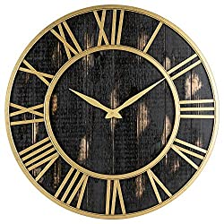 Oldtown Clocks Gold and Black Home Decor Wall Clock - Metal & Solid Wood Whisper Quiet Ticking Wall Clock (Black Gold, 30-inch)