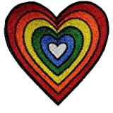 Heart Rainbow Hippie Retro Design DIY Applique Embroidered Sew Iron on Patch H-01