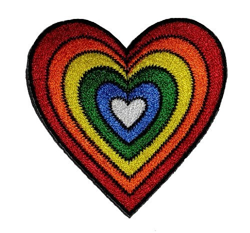 (Heart Rainbow Hippie Retro Design DIY Applique Embroidered Sew Iron on Patch H-01)