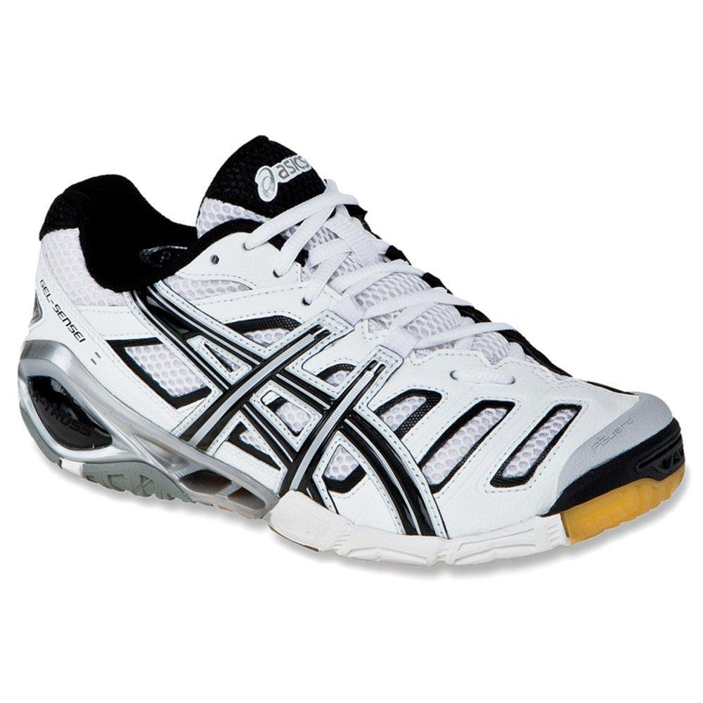 ASICS Women's GEL-GEL-Sensei 4 Volleyball Shoe,White/Black/Silver,9 M US