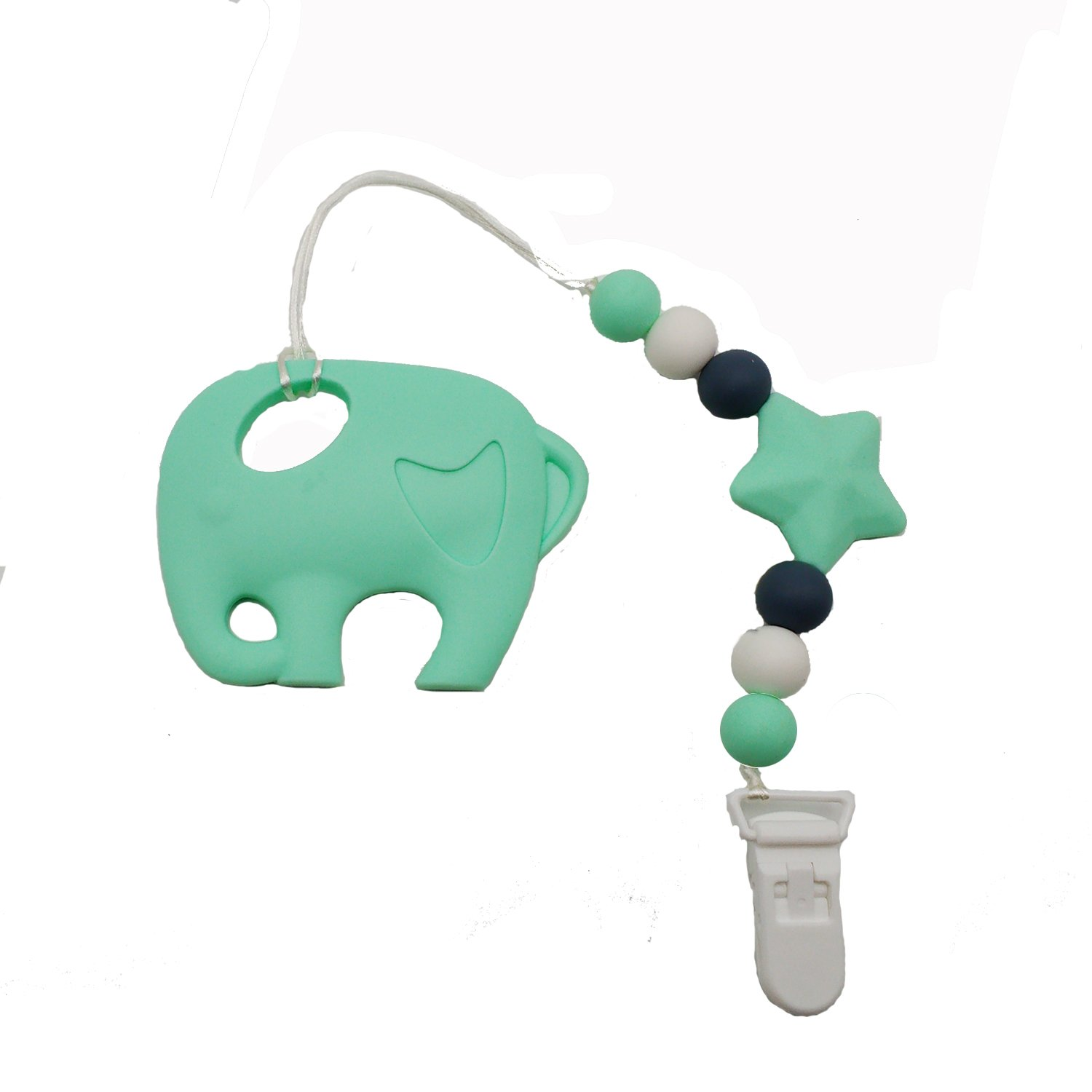 INCHANT 2 in 1 Elephant Silicone Teething Beads and Pacifier Clip for Girls and Boys with 100% Safe Chewable Silicone Teethers - Toddler & Baby Teether Toy E-Thriving