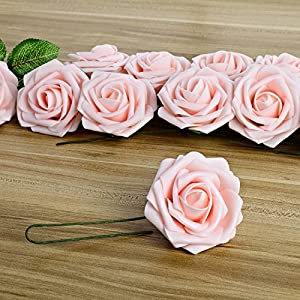Breeze Talk Artificial Flowers Blush Roses 25pcs Realistic Fake Roses w/Stem for DIY Wedding Bouquets Centerpieces Arrangements Party Baby Shower Home Decorations (25pcs Blush) 3