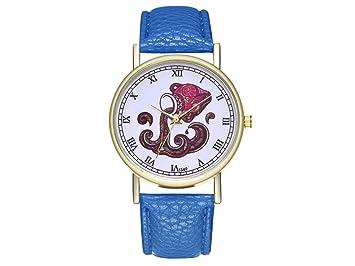 HOUHOUNNPO Reloj de Moda Acuario Zodiac Animal Cartel Cuero Reloj para Mujer Hombre Moda Reloj de