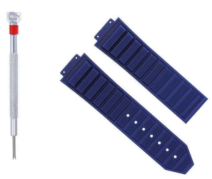 Correa de reloj de goma de 24 mm para bujías de 44 - 45 mm de alto, con destornillador azul 5 h: Amazon.es: Relojes