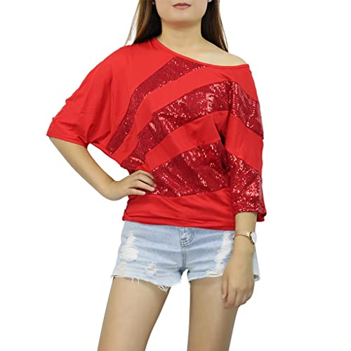 Blusa con Lentejuelas Irregular Sequins Camiseta Manga Murcielago Mujer Fiesta Top Brillante Bling Barco Cuello Suelto Casual Camisa Señora – Landove