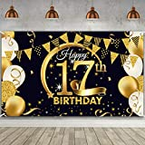 17th Birthday Party Decoration, Extra Large Fabric Black Gold Sign Poster for 17th Anniversary Photo Booth Backdrop Background Banner, 17th Birthday Party Supplies, 72.8 x 43.3 Inch