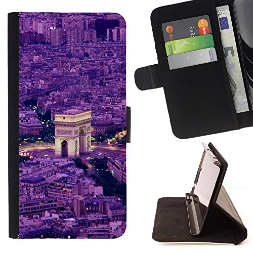 God Garden - FOR Apple Iphone 5 / 5S - Arc De Triomphe Paris - Glitter Teal Purple Sparkling Watercolor Personalized Design Custom Style PU Leather Case Wallet Fli
