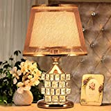 Table Lamp Coffee Table Lamp- 41cm Modern Bedroom Bedside Lamp Crystal European Luxury Wedding Table Lamp Creative Cube Warm Bedroom (Color : Gold)