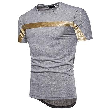 LuckyGirls Camisetas Hombre Manga Corta Originales Irregular Deporte Polos Personalidad Casual Color de Hechizo Camisas (
