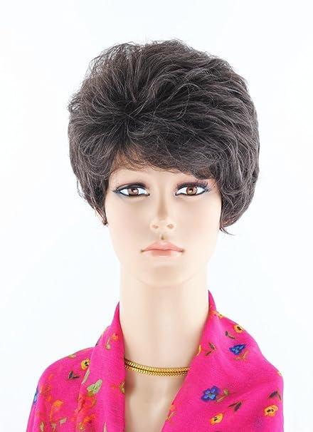 Señoras mayores de peluca peluca corta moda fluffy temperamento inclinado flequillo pelo