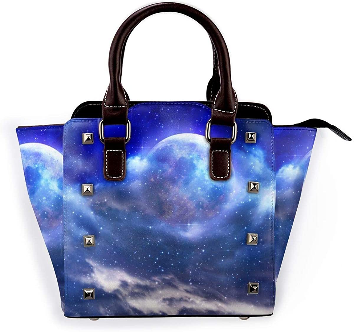 3d brillante cielo estrellado mujeres moda cuero genuino remache bolso de hombro de las niñas de viaje de la escuela bolso de mano 3d Brillante Cielo Estrellado