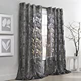 Cheap Common Wealth Home Fashions Amelia Floral Burnout Curtain Panel, 50 x 95″ Silver