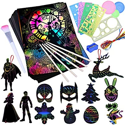 107 PCS Rainbow Magic Scratch Off Arts and Crafts Supplies Kits Sheet Pack for Children Girls Boys Girls Birthday Game Party Favor Christmas Easter DIY Craft Gifts Scratch Paper Art Set for Kids