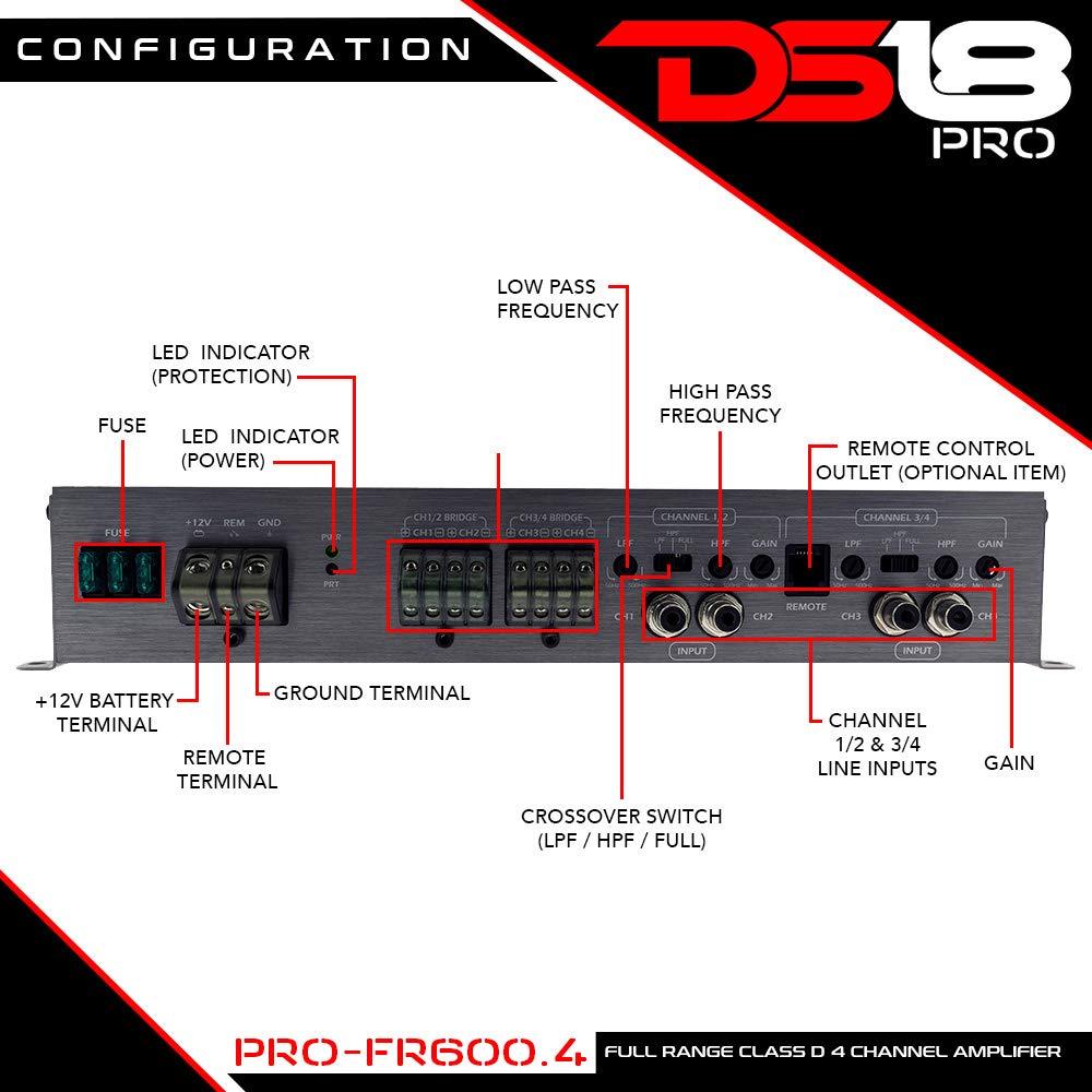 DS18 PRO-FR600.4 Full Range 600 Watts Max Class D Four Channel Amplifier - Smc Technology