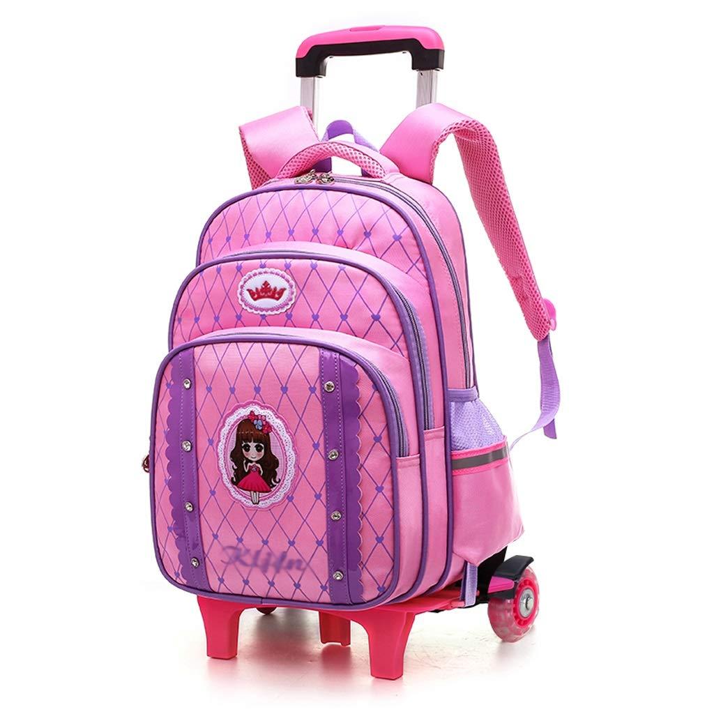 C-Xka 高容量ローリングスクールバッグかわいいプリンセス風ローリングリュックサック小学生キャスター付きバッグ小学校の女の子ちょう結びキャリーオン荷物袋 B07JVB9GZ3 Pink Two rounds