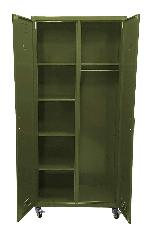 F.T. Armadio Armadietto spogliatoio in Metallo Stile Industriale su Ruote Dim.85x40x180cm Colore Verde Militare Opaco