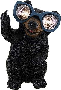 Zeckos Naughty Bear Solar Eyes LED Light Statue