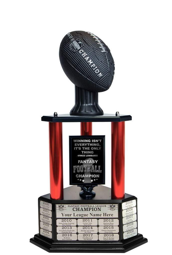 Customizable 26'' Fantasy Football Trophy Free Engraving up to 19 Years Past Winners (Vivid Black) (26'' Tall, Red Columns) by TrophySmack