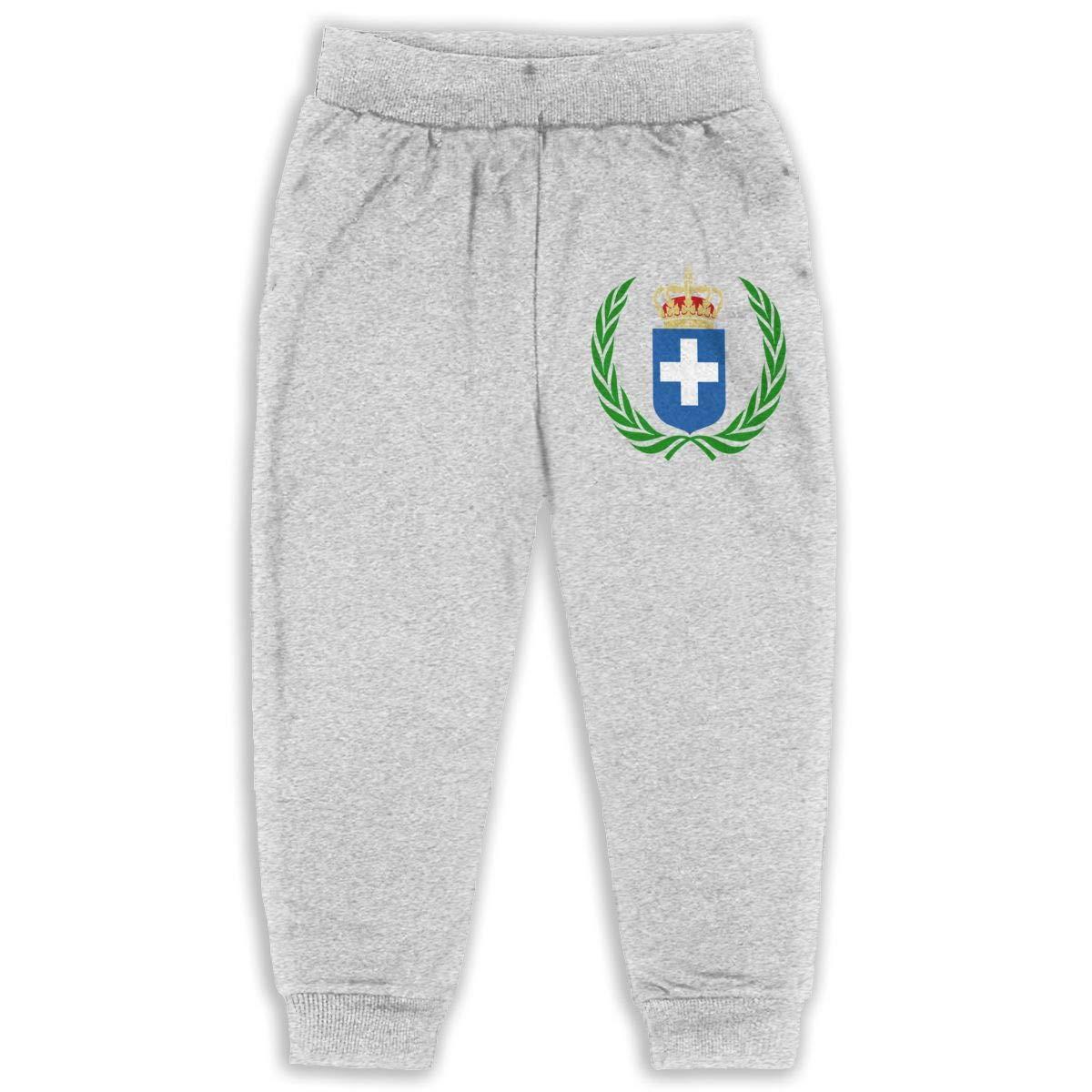 JOAPNWJ Coat of Arms Greece Children Cartoon Cotton Sweatpants Sport Jogger Elastic Pants