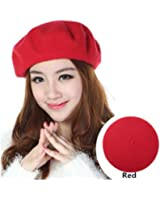 Women's Solid Color Wool Beret French Style Beanie Hat Cap