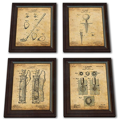 Framed Golf Patent Art Prints - 14 in X 17 in Finished Size (4 Set (Ball Tee Club Bag)) -