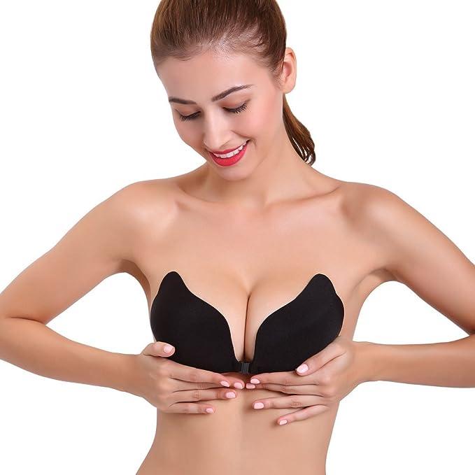 colleer Mujer Self Adhesive de silicona desnuda Invisible Push Up rückenfreie sujetador sin tirantes sin tirantes alas Selbstklebendes adhesivas de BH negro ...