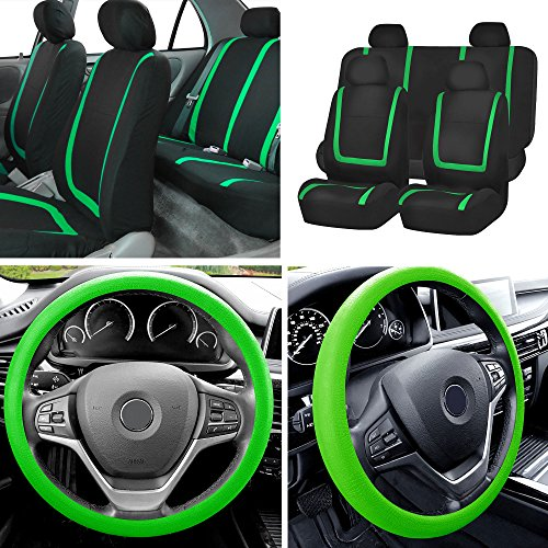 FH Group FB032114 Unique Flat Cloth Full Set Car Seat Covers w. Silicone Steering Wheel Cover, Green/Black Color- Fit Most Car, Truck, Suv, or Van