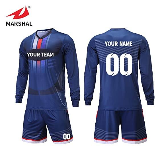 42133ce23 Marshal Jersey Custom team soccer jerseys keep warm long sleeves soccer  uniforms design your idea unique