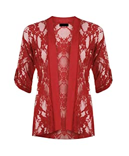 chouyatou Women's Sexy Hollow Out Lace 3/4 Sleeve Sheer Open Front Cardigan Cover Ups (Small, Red)