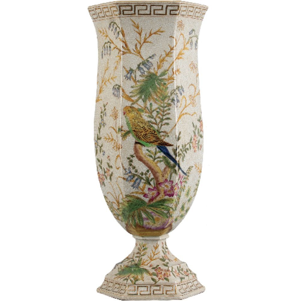 Home decor. Ivory Hexagon Bird Vase. Dimension: 7 x 8 x 18.5. Pattern: Bird Paradise.