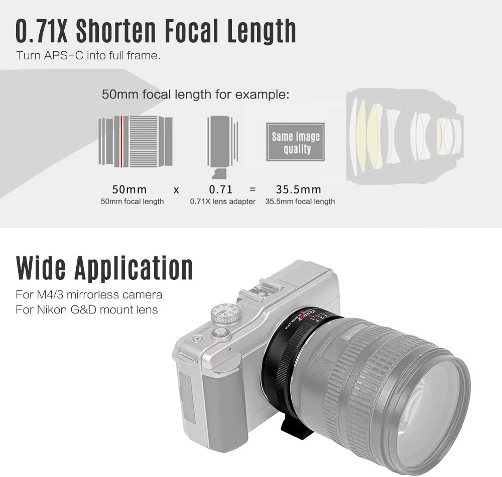 Amopofo-Viltrox NF-M43X 0.71x Focal Reducer Turbo Booster for Nikon F Lens to M43 Camera