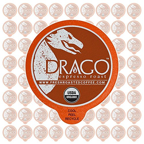 Fresh Roasted Coffee LLC, Organic Drago Artisan Blend Coffee Pods, Espresso Roast, USDA Organic, Capsules Compatible with 1.0 & 2.0 Single-Serve Brewers, 72 Count (Fresh Roasted Coffee Llc Organic)