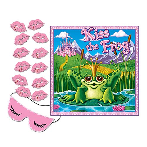 Kiss The Frog Party Game (mask & 12 lips included) Party Accessory  (1 count) -