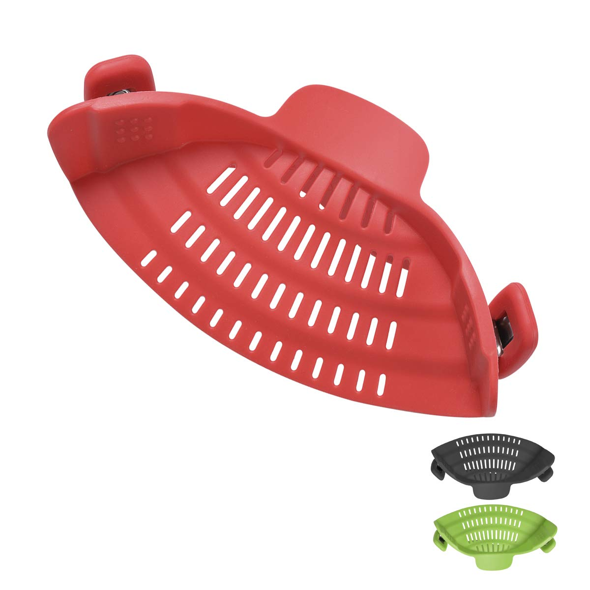 Xcellent Global Clip On Silicone Strainer Kitchen Flexible Food Colander for Draining Spaghetti,Pasta, Noodle, Ground Beef Fits Most Pots, Pans,and Bowls