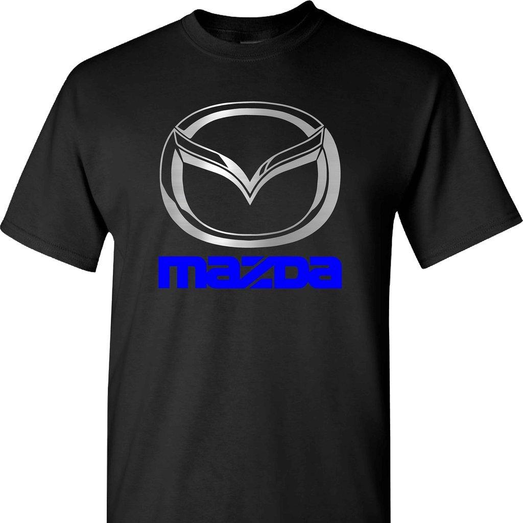 Mazda Chrome Logo with Blue Metallic on a Blue T Shirt