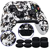9CDeer 1 Piece of Studded Protective Customize Digital Camo Silicone Cover Skin Sleeve Case 8 Thumb Grips Analog Caps for Xbox One/S/X Controller White Compatible with Official Stereo Headset Adapte