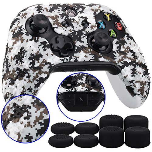 9CDeer 1 Piece of Studded Protective Customize Digital Camo Silicone Cover Skin Sleeve Case 8 Thumb Grips Analog Caps for Xbox One/S/X Controller White Compatible with Official Stereo Headset Adapte by 9CDeer