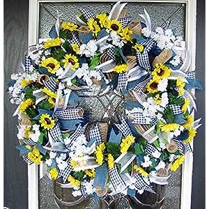 Country Blue Sunflower Wreath, Decor, Fall, Spring, Summer, Front Door, Burlap Wedding Farmhouse Decor, French Country Decor 2